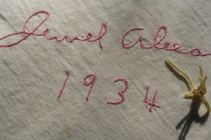 Detail of Embroidered Signature and Date