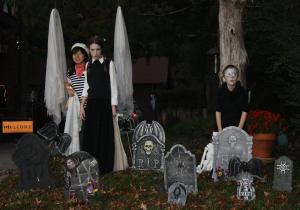 We had to wander through the neighbors graveyard.