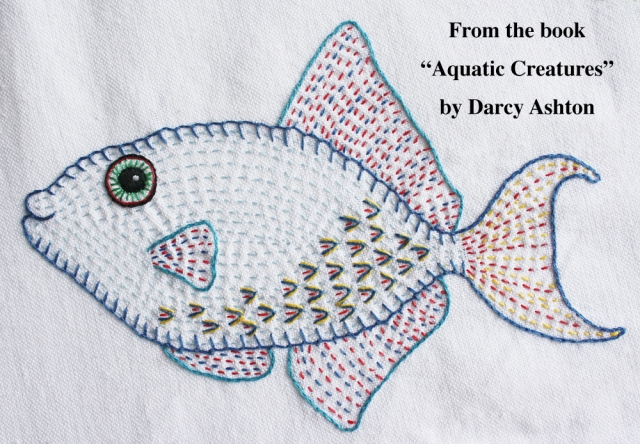 Embroidered fish w:words #1