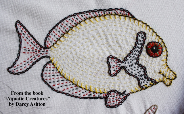 Embroidered fish w:words #2
