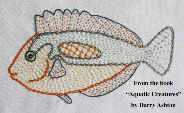 Embroidered fish w:words #3