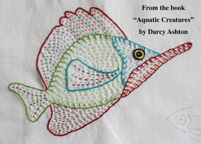 Embroidered fish w:words #4